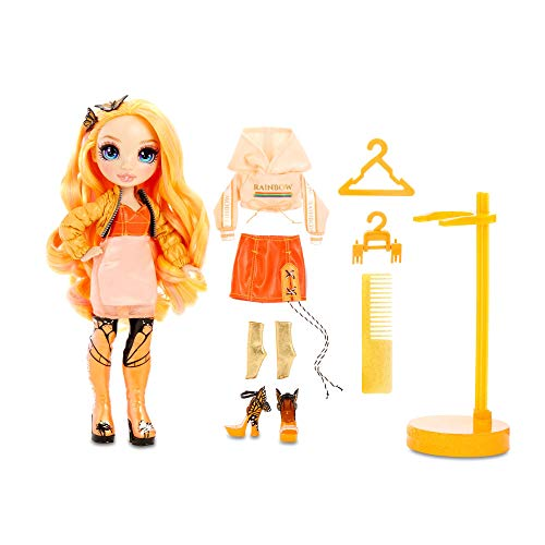 Rainbow Surprise High Poppy Rowan – Orange Fashion Doll with 2 Outfits